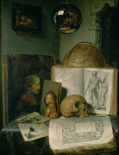 Gerrit Dou - Still Life with a Skull (c.1650)