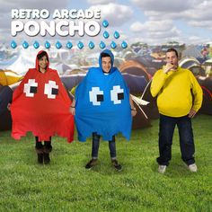 RETRO SPACE INVADER STYLE WATERPROOF PONCHO