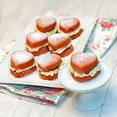 Victoria Sponge Mini Heart Cakes - heart shape with a filling and icing sugar dusting