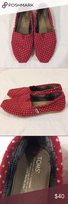 Red Polka Dot Toms Worn a couple times and in excellent shape! They're red with white polka dots. TOMS Shoes