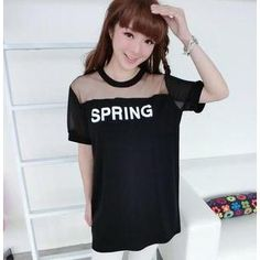 Mesh Yoke Lettering T-Shirt from #YesStyle <3 59 Seconds YesStyle.com