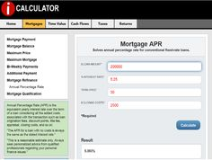 ANNUAL PERCENTAGE RATE - Use iCalculator to compute the APR for any-size mortgage. #realestate #realestatecalculators #realestatecalculations