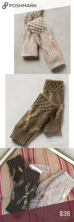 """NWT 2 Pairs Anthropologie Northern Lights Gloves Acrylic, alpaca, wool, viscose Hand wash Italy Style No. 40482655 gloves have thumb holes  11""""L 2 pairs for the price of one. Each sold at $38 colors are cream and green Anthropologie Accessories Gloves & Mittens"""
