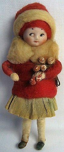 German Heubach Bisque Head Spun Cotton Ornament