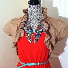 Cute dark nude bolero jacket. Dark nude bolero. In excellent condition. Ruffles around neck and edge add a feminine touch. Pair with your favorite maxi for those cool summer nights. No trades. Cotton spandex blend. Necklace and dress not for sale. From smoke free home. Made in USA!! Tops