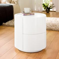 Sphere gloss bedside table white