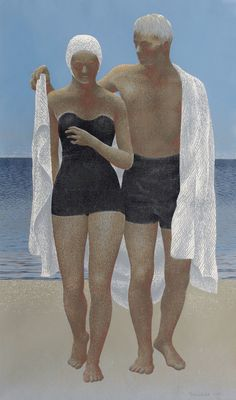 Alex Colville silkscreen print, After Swimming. Alex Colville, Canadian Painters, Canadian Artists, Kunst Online, Tate Gallery, Magic Realism, Digital Museum, Galleries In London, Art Walk
