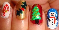 Christmas Nail Designs - Snowman, Trees, and Candy Cane