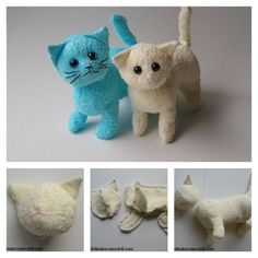 DIY Terry Cloth Cats with Free Pattern Kids love stuffed animals, but they are n. DIY Terry Cloth Cats with Free Pattern Kids love stuffed animals, but they are not cheap. Sewing Stuffed Animals, Stuffed Animal Cat, Cute Stuffed Animals, Stuffed Animal Patterns, Animal Sewing Patterns, Sewing Patterns For Kids, Pattern Sewing, Animal Projects, Animal Crafts
