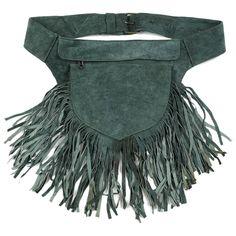ceinture sacoche en cuir, utility belt in leather, franges, vert,