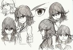 Finished designs of Satsuki and Ryuko, illustrated by Sushio in The Art of KlK Vol 1.