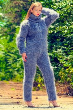 Here you will findhand knitted mohair turtleneck ,crew neck ,V neck and othersweaters. Design :Ribbed design mohair catsuit, hand knitted with 2 strands mohair; Fluffy Sweater, Mohair Sweater, Gros Pull Mohair, Pull Bleu, Pink Bodysuit, Knitted Coat, Knit Jacket, Catsuit, Sweater Outfits
