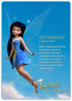 Silvermist (the fairy) from Peter Pan! Tinkerbell Characters, Tinkerbell Movies, Tinkerbell And Friends, Tinkerbell Disney, Tinkerbell Fairies, Tinkerbell Party, Cartoon Characters, Hades Disney, Walt Disney