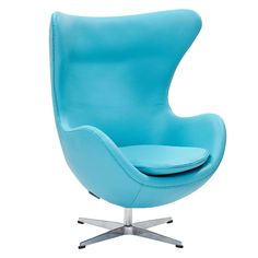ModWay Furniture Glove Chair In Baby Blue Italian Leather -