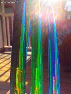 Seaweed Daydream Color-Change Rainbow Morph Hula Hoops - Custom Polypro, HDPE, Beginner Hoop - Green, Yellow, Cyans