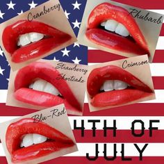 #Festive #lips that'll last through #BBQ, dips in the #lake/#ocean, & #drinks!  Don't delay, contact me today!