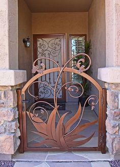 Agave Vine Tor Design, Gate Design, Metal Gates, Wrought Iron Gates, Front Gates, Entrance Gates, Metal Projects, Metal Crafts, Gates And Railings