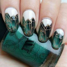 Emerald Crystals Painted On White Base For Party Nails