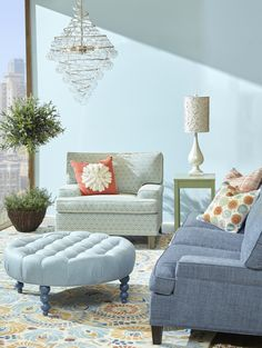 Genial Marcel Sofa And Chair, Rockport Round Tufted Ottoman