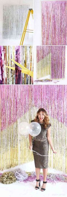 70 Budget Friendly DIY Photo Booth Backdrop Ideas And Tutorials – Decoration Event Party Kulissen, Party Time, Ideas Party, Diy Ideas, Brunch Party, Gold Party, Craft Party, Party Favors, Decor Ideas