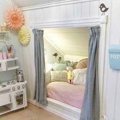 Little girls dream built in bed with SLANTED ROOFLINE. Pic credit woohome.com  #kidsinterior #kidsroom #kidsbedroom #childrensroom #childrensinteriors #kidsdecor #decor #kidsbedroominspiration #childrensbedroom #childrensspaces #girlsroom #girlsbedroom #interiorinspo #bedroom #interiors #roxyoxycreations #slantedrooflines #sharedbedroom