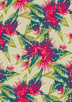 New Zealand rata flower pattern - light colourway
