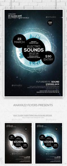 Electro Space Sound Futuristic Flyer Templates