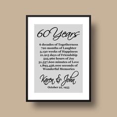 60th Anniversary Gift Diamond Anniversary by DaizyBlueDesigns