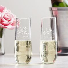 Personalized Mr. & Mrs. Stemless Champagne Toasting Flutes | Personal Creations