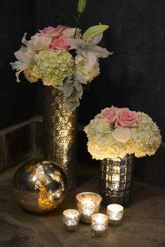 mercury and soft neutral wedding decor
