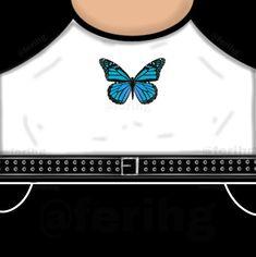 Hola, descarga y sube a roblox está camiseta gratis. (Ropa originalmente creada por mi) // Hi, download and load this free t-shirt to roblox (Clothes originally created by me) // Olá, baixe e carregue Bff T Shirt, T Shirt Png, Butterfly Shirts, Blue Butterfly, Free T Shirt Design, Collage Des Photos, T Shirt Picture, Roblox Gifts, Roblox Shirt