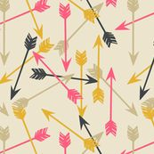 Arrows Scattered on Cream - papersparrow - Spoonflower