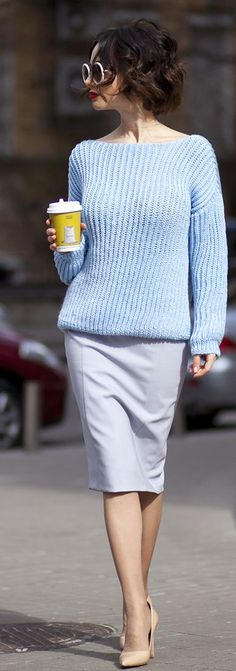 Baby Blue And Grey Streetstyle                                                                                           Mehr