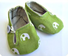 Baby Shoes Fabric slippers Olive Green Elephants by BusterBooKids, $28.00
