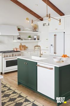 Create your dream home this holiday season. Elevate your kitchen with unique products you won't find anywhere else. Home Interior, Kitchen Interior, New Kitchen, Kitchen Decor, Kitchen Design, Awesome Kitchen, Sink Design, Country Kitchen, Two Toned Kitchen