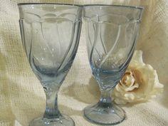Two Noritake Sweet Swirl Pale Blue Water or Ice Tea Goblet