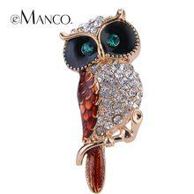 Многоцветный кристалл горного хрусталя сова броши eManco 2015 акции высокое качество мода бижутерии творческий рождественский подарок BR02758(China (Mainland))
