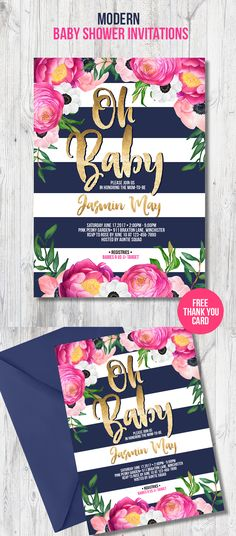 Modern baby shower invitation for your trendy party theme with navy blue and white stripes, pink peonies and peach color anemones with gold glitter details. Perfect baby shower card to invite your guests to most amazing spring or summer party of the year to celebrate and shower the mom-to-be.