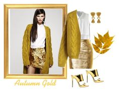 """Autumn Gold"" by jbeb ❤ liked on Polyvore featuring Yves Saint Laurent, Giuseppe Zanotti and Chicwish"