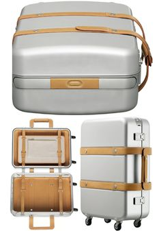 Hermès Orion aluminium and leather suitcase