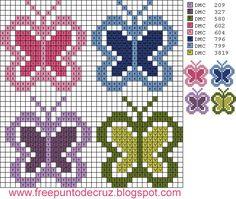 Dibujos Punto de Cruz Gratis: Butterflies Cross Stitch - Mariposas punto de cruz