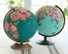 Custom order hand painted floral globes