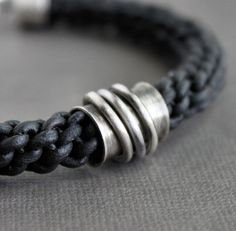 Mens Leather Bracelet Thick Black Braid van LynnToddDesigns op Etsy