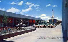 """Along the North Mall, Northland Center, Detroit, Michigan. """"The world's largest shopping center"""", built by the J. L. Hudson Company and opened in March, 1954."""