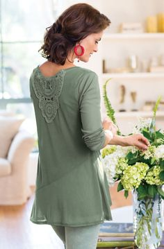 Two Dimension Top - An elaborate crocheted appliqué enhances the back of this artful top   Soft Surroundings
