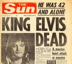 August Elvis Presley, the king of rock and roll, dies in his home in Graceland at age fans line the streets of Memphis for his funeral Elvis Presley, Newspaper Headlines, Old Newspaper, Newspaper Article, Newspaper Archives, Rock And Roll, Sad Day, I Remember When, Lisa Marie Presley
