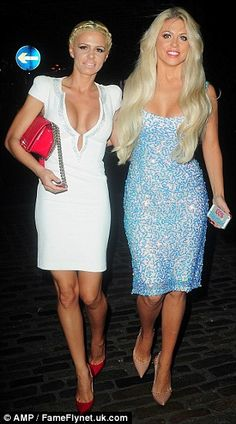 Battle of the busts: The tanned reality star was joined by an equally busty blonde pal who almost burst out of her plunging white dress Bianca Gascoigne, Celebrity Stars, Evening Attire, Star Children, Launch Party, Hollywood Celebrities, Martini, Battle, Curvy