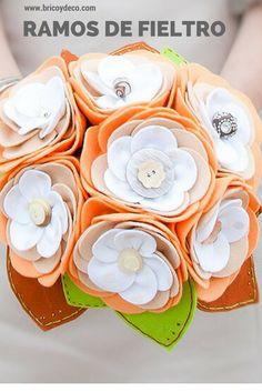 12 ideas para de ramos de fieltro para bodas  #ideas #diy #ramosdenovia #bouquet #bridal #wedding