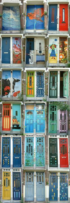 The doors of Zwaerdecroonstraat, Rotterdam, The Netherlands.