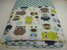 Cute owl quilt for baby boy - available in multiple sizes from http://www.etsy.com/shop/KBExquisites